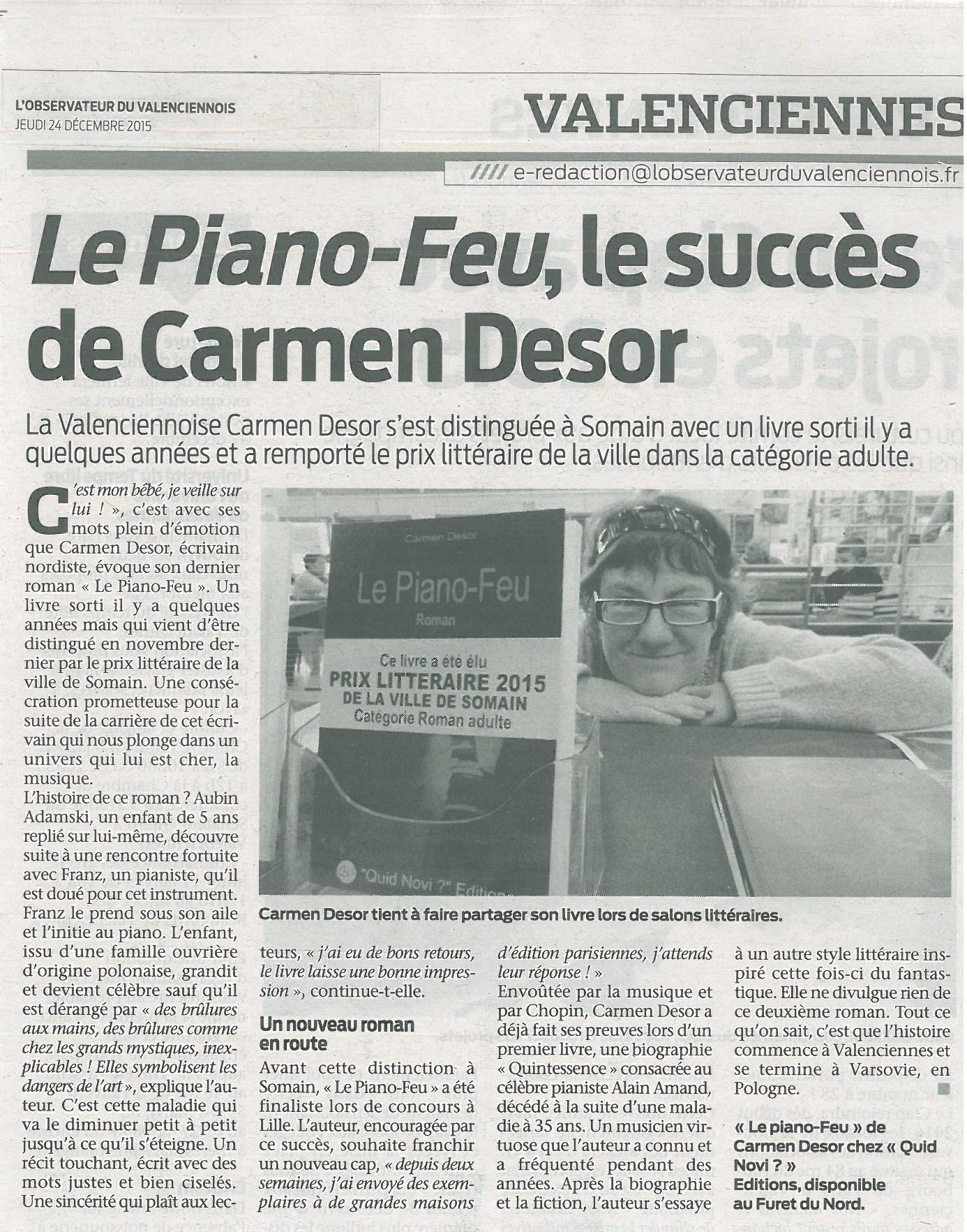 Article observateur du valenciennois du 24 de cembre 2015